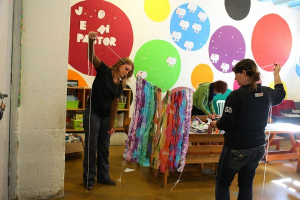 Tie-Dye Banner at Art Camp 2012